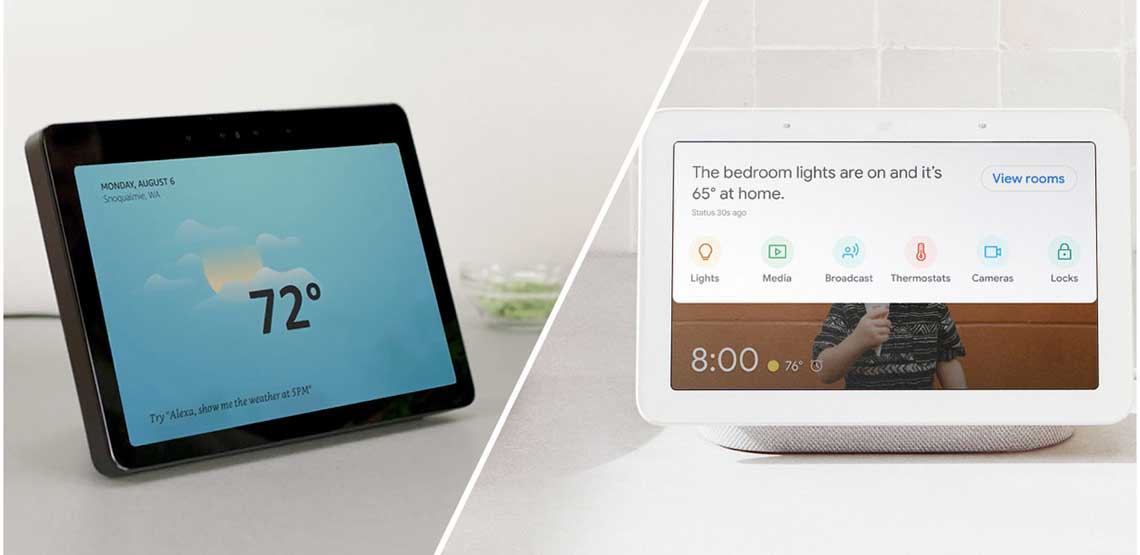 A Google Home Hub and Amazon Echo Show side by side