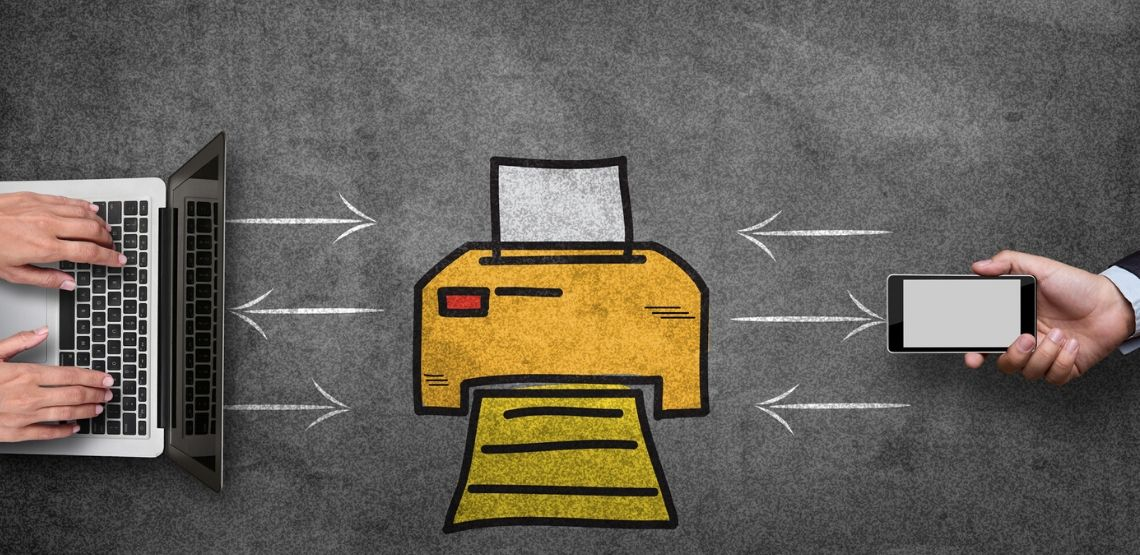 A graphic showing the connection between a printer and devices.