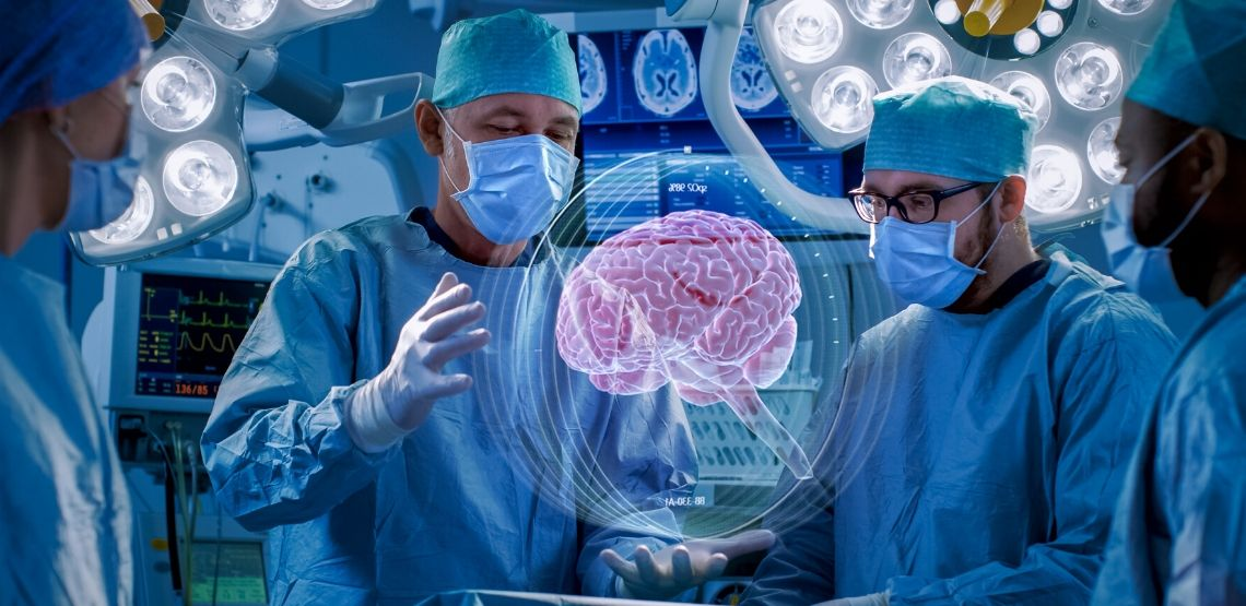 Doctors using augmented reality to solve a case.